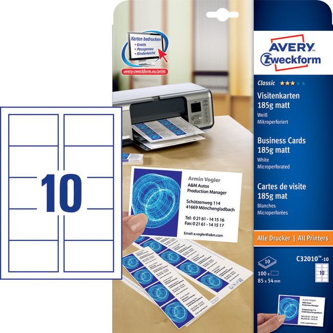Papier Wizytówkowy Avery Zweckform C32010 10 Mikroperforacja Mat Białe 100 Szt
